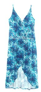 Blue Maxi Dress by Garnet Hill New Without Tags Surplice High Low Empire Knit