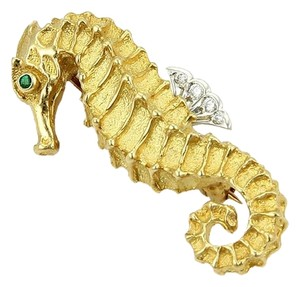 Tiffany & Co. 15305 - Rare Tiffany & Co. Sea Horse Brooch Pin in 18k Gold Diamonds & Emeralds