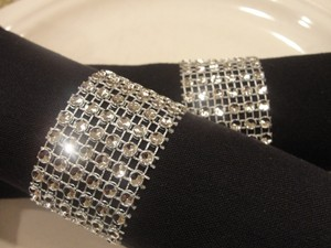 Wedding Rhinestone Diamond Mesh 300 Napkin Rings Silver Tone Bling (6 Rows) Bridal - Quinceanera - Baby Shower - Party