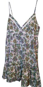 Trafaluc short dress White/Olive/Orange Floral Summer on Tradesy