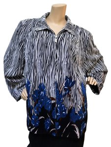 Maggie Barnes Plus Size Botanical Print Black White Blue Jacket