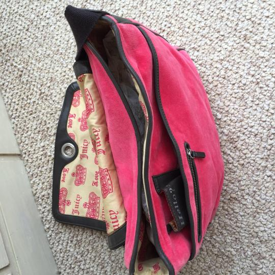 Juicy Couture Velour Leather Compartments Pink Messenger Bag