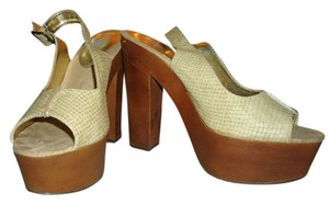 Charlotte Russe Slingback Cream/Wood Platforms