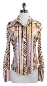 St. John Striped Silk Blend Shirt Button Down Shirt