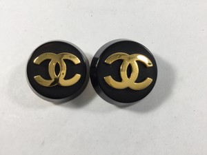 Chanel Black and Gold Button Clip-on Earrings