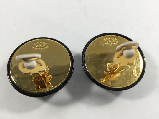 Chanel Chanel Black and Gold Button Clip-on Earrings