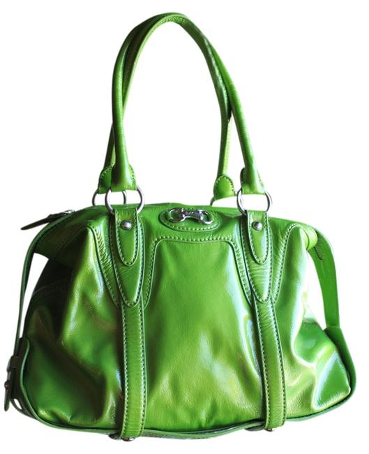 Item - Green with Silver Hardware Patent Leather Shoulder Bag