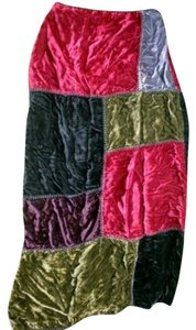 Maxou Jeweltone Velvet Patchwork Maxi Skirt Multi-Color