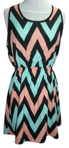 Final Touch short dress Black/Peach/Mint T-back Zig Zag Stripes Lined on Tradesy