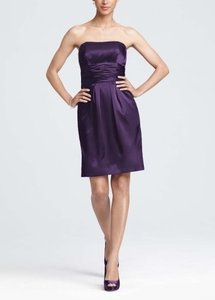 David's Bridal Purple Other Short Charmeuse Ruched Waist and Pocket Bridesmaid/Mob Dress Size 4 (S)