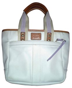 Coach Tote in White with Lilac