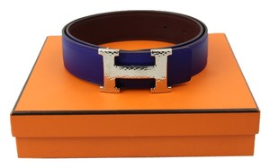 Hermès Hermes Hammered Royal Blue Belt with silver buckle