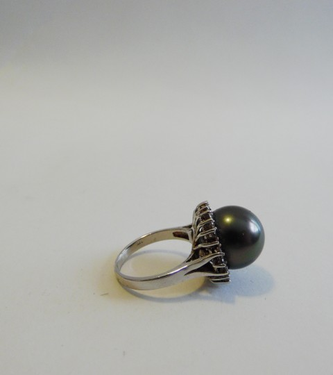 Pearlfection Pearlfection .925 Faux Black South Sea Pearl Ring Size 8 Image 1