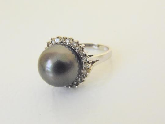 Pearlfection Pearlfection .925 Faux Black South Sea Pearl Ring Size 8 Image 6