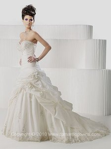 Private Label by G Ivory Taffeta Plg-1383 Sexy Wedding Dress Size 10 (M)