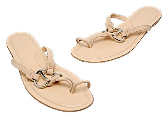 Tod's Suede Leather Thong Silver Hardware Nude Sandals
