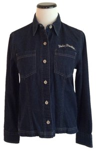 Harley Davidson Light Weight Denim Button Down Shirt Dark Denim