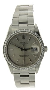 Rolex ROLEX DATE STAINLESS STEEL DIAMOND WATCH