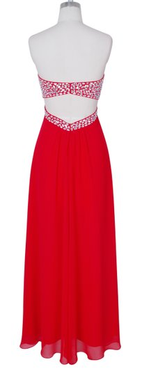 Red Chiffon Crystal Beads Bodice Open Back Long Sexy Bridesmaid/Mob Dress Size 6 (S)