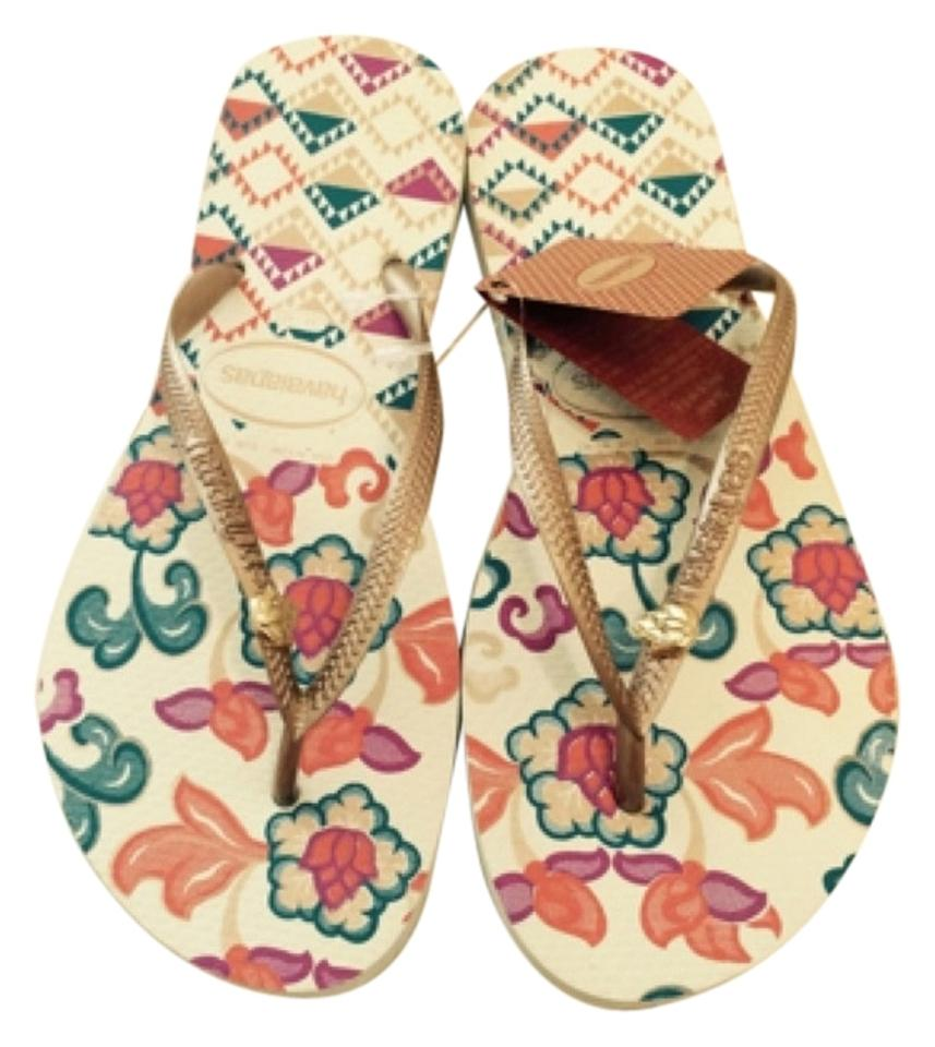 Havaianas White Flowers Flip Flops Sandals Size Us 9 Regular M B