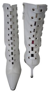 Stuart Weitzman Leather Mid-calf Studded Silver White Boots