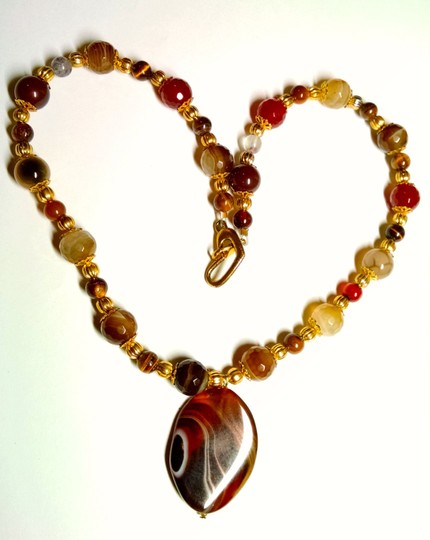 Other New Agate Gemstone Necklace Gold Tone 18 Inch Handmade Jewelry J1178