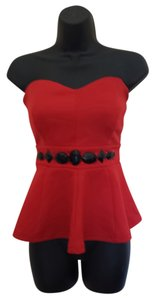 Other Top Strapless Red Peplum