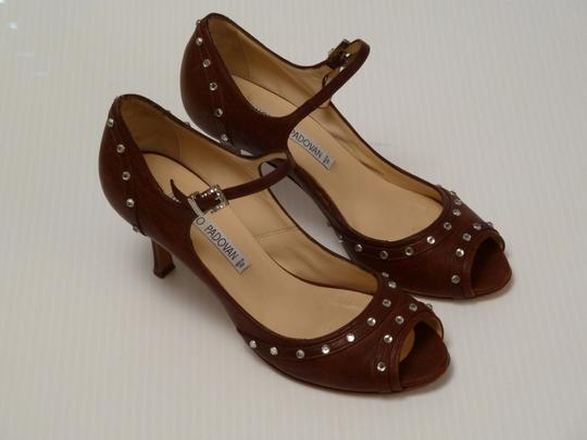 Luciano Padovan Italian Leather Brown Pumps Image 4
