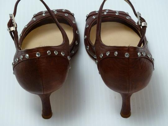 Luciano Padovan Italian Leather Brown Pumps Image 6