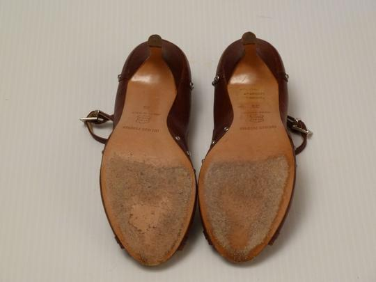 Luciano Padovan Italian Leather Brown Pumps Image 7