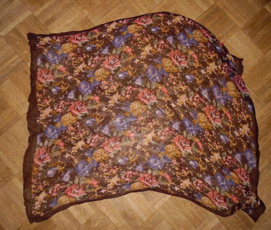 Other Floral Sheer Crinkled Polyester Square Scarf