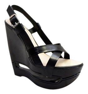 Céline Celine Cut Out Strappy Wedge Black Wedges