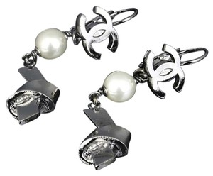 Chanel Chanel CC Pearl Knot Silver Tone Monogram Dangle Drop Charm Earrings.