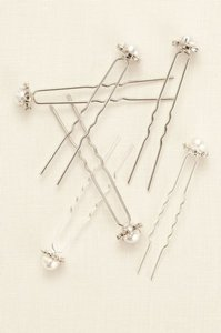 David's Bridal Pearl And Rhinestone Surround Hair Pins