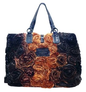 Valentino Rosette Leather Roses Tote in Multi-Color