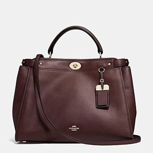 Coach Tote Leather Satchel in Oxblood
