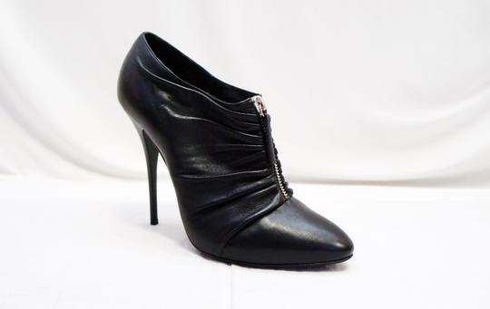 Giuseppe Zanotti Leather Zadina Ruched Zip Ankle Heel 9 Black Boots
