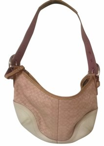 Coach Monogram Tan Leather Leather Mahagony Mini Small Hobo Bag