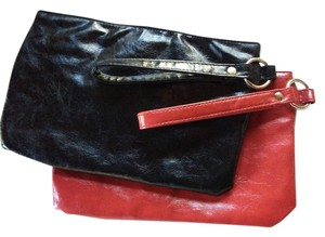 Other Metallic Hardware Party Wristlet in Black and red