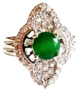 Genuine African Emerald and Top CZ 925 Sterling Silver Art Deco Style Ring 7.5