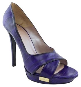 Versace Stiletto Gold Hardware Logo Purple Pumps