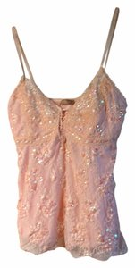 Forever 21 Sparkle Lace Party Sequin Top Blush