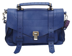 Proenza Schouler Leather Ps1 Medium Satchel in Cobalt Blue/Purple Interior