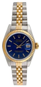Rolex Rolex Stainless & 18K Gold DateJust Blue Dial Laides Watch
