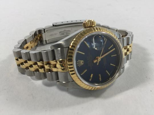 Rolex Sophisticated Women's Rolex Stainless and Gold Datejust with Blue Dial Watch