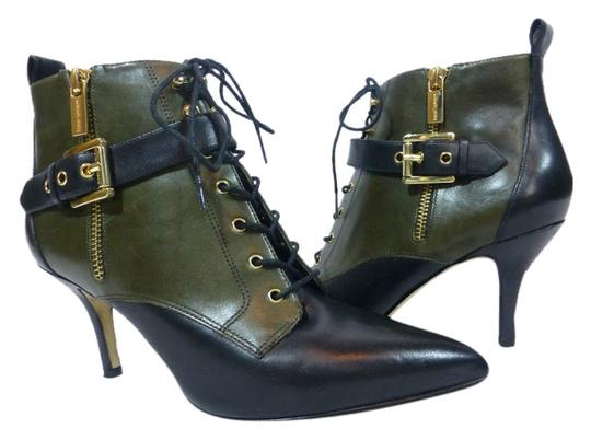 MICHAEL Michael Kors Leather Two Toned Pointed Toe Black Loden Boots