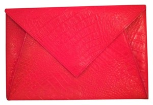 Fendi Vintage Red Crocodile Envelope Clutch