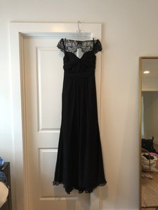 Jim Hjelm Black Chiffon Formal Bridesmaid/Mob Dress Size 4 (S)