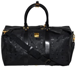MCM Modern Creation Munich Modern Creation Munchen Visetos Visetos Pattern Made In Germany German Designer Duffle Duffel Black Travel Bag