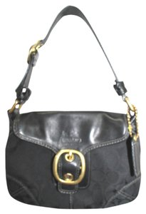 Coach Leather Trim Black Canvas Shoulder Bag